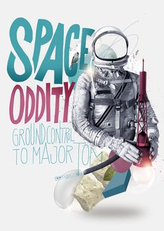 Nazario Graziano / Space Oddity / colagene.com #futuristic #space #illustration #vintage #type #collage #drawing #typo #moon