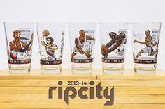 Trailblazers Caricature Drinking Glasses #blazers #ripcity #timweakland
