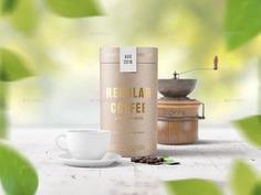 Paper Tube Coffee Package Mockup