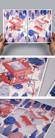 2 color riso print.2 different prints of 21×29 cm Numbered and signed series of 50