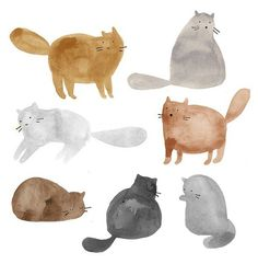 cats, cats, cats #illustration #cat #watercolor