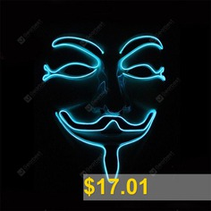Halloween #EL #Mask #Glow #LED #Illuminated #Vendetta #- #LIGHT #BLUE