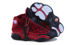 Red Leopard & Black Basketball Shoe Jordan Brand Retro 13 For Kid #shoes