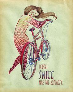 Zaczarowana Walizka #passion #pattern #girl #bicycle #ride #snow #illustration #biking #bike #watercolor #love
