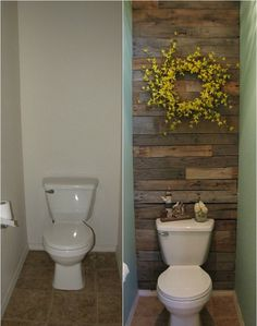 DIY Pallet Wall for the Free Toilet Room #interior #house #design #space #architecture #room