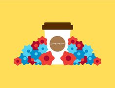 Beau Monroe #bright #color #graphic #illustration #coffee #flowers