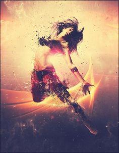 Digital Artwork by Pete Harrison   Cuded #photo #jumping #women #illustration #photography #manipulation #lady