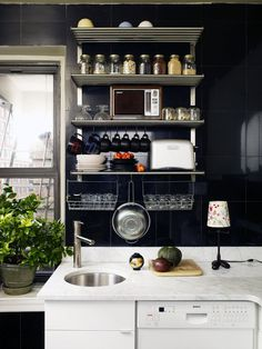 Get the Look: Dramatic Black Tile Kitchen Style & Renovation Resources #interior #kitchen