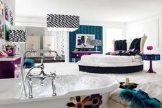 Glamour bedroom with paintings for decoration