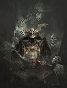 Ghost Ronin by marctaro #ghost #warrior #skeletons #death #soldier #haunted #illustration #samurai #armour #ronin