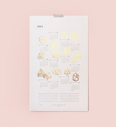 Designer illustrator Julia Kostreva #print #design #graphic #calendar #gold