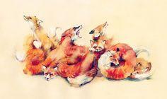 FOX #red #fox #orange #paint #watercolor #animal