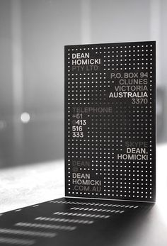 Dean Homicki business card by Pidgeon #print #stationery