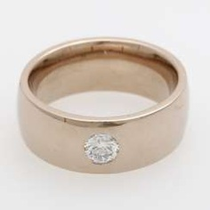 Band ring with brilliant approx 0.25 ct, Fine White, V VS-to VS.