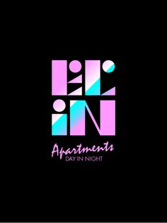 El in apartments logo #logo #black #pink #blue #geometry