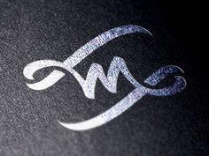 M #calligraphy #lettering #flag #design #monogram #brush #logo