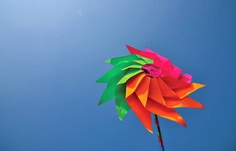 Colourful Pinwheel Against clear blue sky