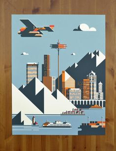 Seattle Poster Illustration by Rick Murphy #illustration #seattle #poster