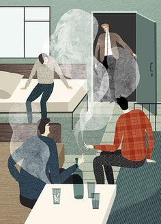 illustration, people, smoke, smoking, drinking