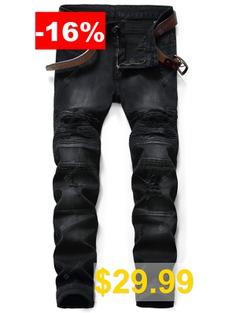 Slim #Fit #Zip #Fly #Destroyed #Biker #Jeans #- #BLACK