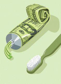 John Holcroft #illustration #green #editorial #money #humor #politics