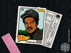 Lando Cal Ripken 18x24 poster made to look like a vintage baseball card #cal #card #lando #color #screenprint #wars #4 #illustration #vintage #star #poster #baseball #ripken