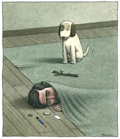 Animalarium: Franco Matticchio - Effetti personali #wag #illustration #hiding #fetch #pet #dog