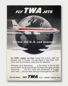 TWA Travel Tips 1960. / Aqua-Velvet #twa #travel #1960s #planes #poster #advert