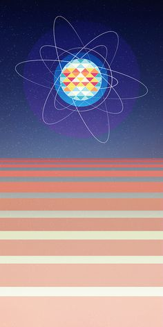 Geometric Atom Design #space #digital #illustration #cosmos #science