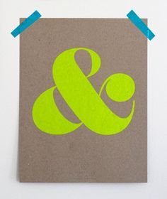 Ampersand Screen Print Neon Yellow by shopampersand on Etsy #screenprints #color