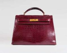 Hermes Vintage 'Kelly Bag 32' Bordeaux