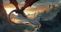 Fantasy Art by Grzegorz Rutkowski #dragon #fantasy #landscape #illustration #magic #mountains #wizard