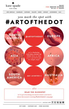 show the world your favorite spots with artofthedot | Kate Spade #design #kate #mailer #newsletter #emailer #subscribe #artofthedot #kate sp