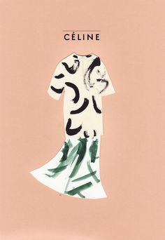 celine advert #poster #fashion #painting #pattern #advertisement #mixed media #celine #blush