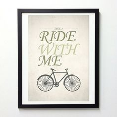Bicycle quotes poster Ride with me typo wall by NeueGraphic #bicycle #print #poster #art #typography