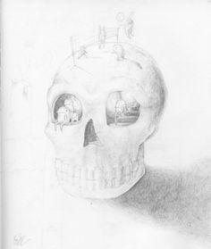 http://ok-backtowork.tumblr.com/ #skull #pencil #sketch #creature