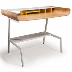 Skateboard inspired half pipe desk #furniture #design #table #work #desk #wood #curved #half pipe #home #office