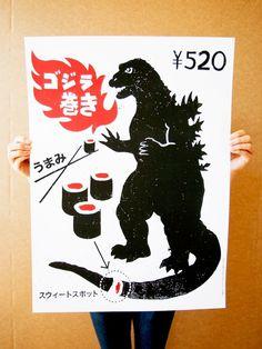 Godzilla Sushi Poster « Victor Melendez #print #japanese #food #sushi #poster #godzilla