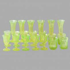 A set of uranium glass (10 glasses, 4 cups, 6 wine glasses)