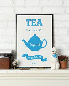 Tea is Liquid Wisdom #poster by The Like Minded #illustration #print #tea #typography #graphic #design