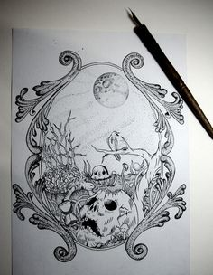 Outono on Behance #skull #ink #moon