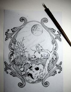 Outono on Behance #skull #ink #moon
