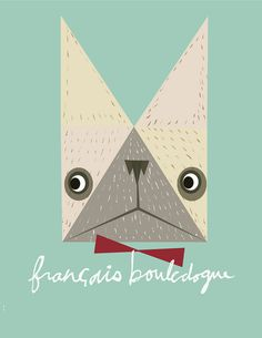 White French Bulldog in French, by Kristina Micotti #inspiration #creative #design #graphic #illustration #french #bulldog #teal #dog