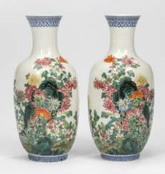 Pair of vases of egg-shell porcelain, with flowers and rocks décor and the poem inscription #Sets #Tea sets #Porcelain sets #Antique plates #Plates #Wall plates #Figures #Porcelain figurines #porcelain