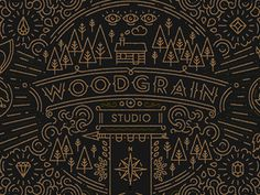 Woodgrain Studio branding #detail #pattern #branding #postcard #design #graphic #detailing #logo #woodgrain #trees #illustration #type #forest #intricacy #typography
