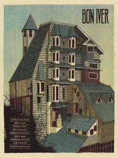 GigPosters.com - Bon Iver #iver #bon #color #screenprint #dan #black #landland #5