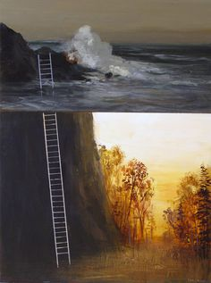 Artist painter Jeremy Miranda #ladder #ocean #surreal #painting