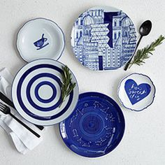 Collector's Editions Dinnerware - Blue Graphic, West Elm