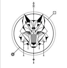 Another geometric wolf :: Tattoo design