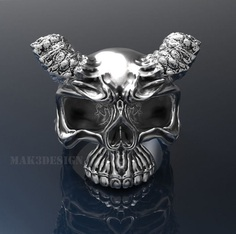 mens skull ring silver skull rings size - 20mm 3d model stl 4